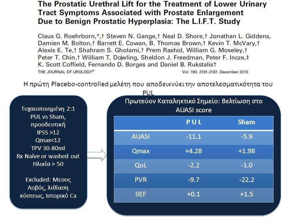 Η πρώτη Placebo-controlled μελέτη που αποδεικνύει την αποτελεσματικότητα του PUL Τυχαιοποιημένη 2:1 PUL vs Sham, προοδευτική IPSS >12 Qmax<12 TPV 30-8