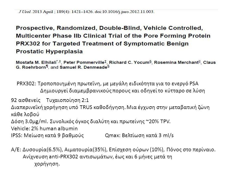 PRX302: Τροποποιημένη πρωτεΐνη, με μεγάλη ειδικότητα για το ενεργό PSA Δημιουργεί διαμεμβρανικούς πορους και οδηγεί το κύτταρο σε λύση 92 ασθενείςΤυχα
