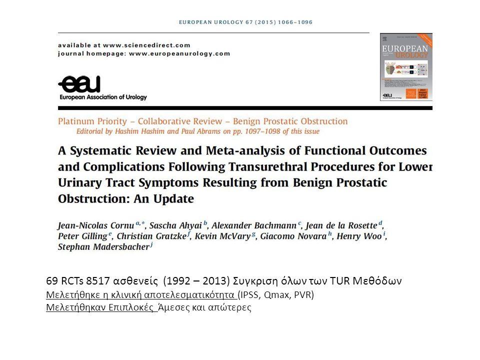 69 RCTs 8517 ασθενείς (1992 – 2013) Συγκριση όλων των TUR Μεθόδων Μελετήθηκε η κλινική αποτελεσματικότητα (IPSS, Qmax, PVR) Μελετήθηκαν Επιπλοκές Άμεσ