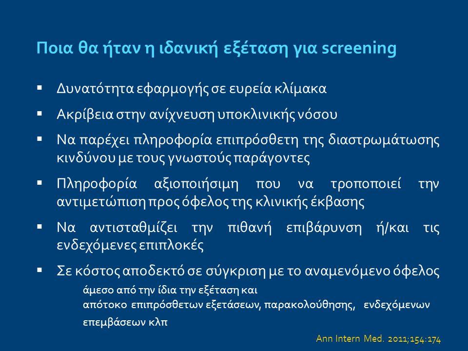 Screening ασυμπτωματικών ασθενών Στόχος: Η μείωση των θανατηφόρων και μη ΟΣΣ Σύμπτωμα → σημαντικές στενώσεις ΟΣΣ → ρήξη, διάβρωση μη στενωτικής ευάλωτης πλάκας Circulation.