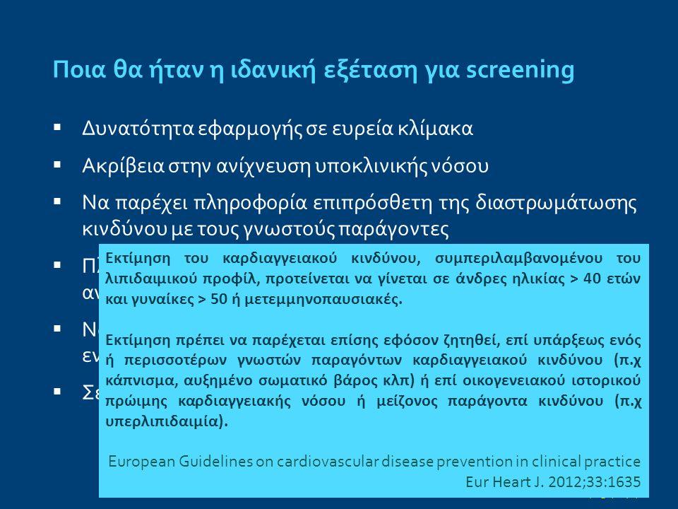 Ποια θα ήταν η ιδανική εξέταση για screening  Δυνατότητα εφαρμογής σε ευρεία κλίμακα  Ακρίβεια στην ανίχνευση υποκλινικής νόσου  Να παρέχει πληροφορία επιπρόσθετη της διαστρωμάτωσης κινδύνου με τους γνωστούς παράγοντες  Πληροφορία αξιοποιήσιμη που να τροποποιεί την αντιμετώπιση προς όφελος της κλινικής έκβασης  Να αντισταθμίζει την πιθανή επιβάρυνση ή/και τις ενδεχόμενες επιπλοκές  Σε κόστος αποδεκτό σε σύγκριση με το αναμενόμενο όφελος άμεσο από την ίδια την εξέταση και απότοκο επιπρόσθετων εξετάσεων, παρακολούθησης, ενδεχόμενων επεμβάσεων κλπ Ann Intern Med.