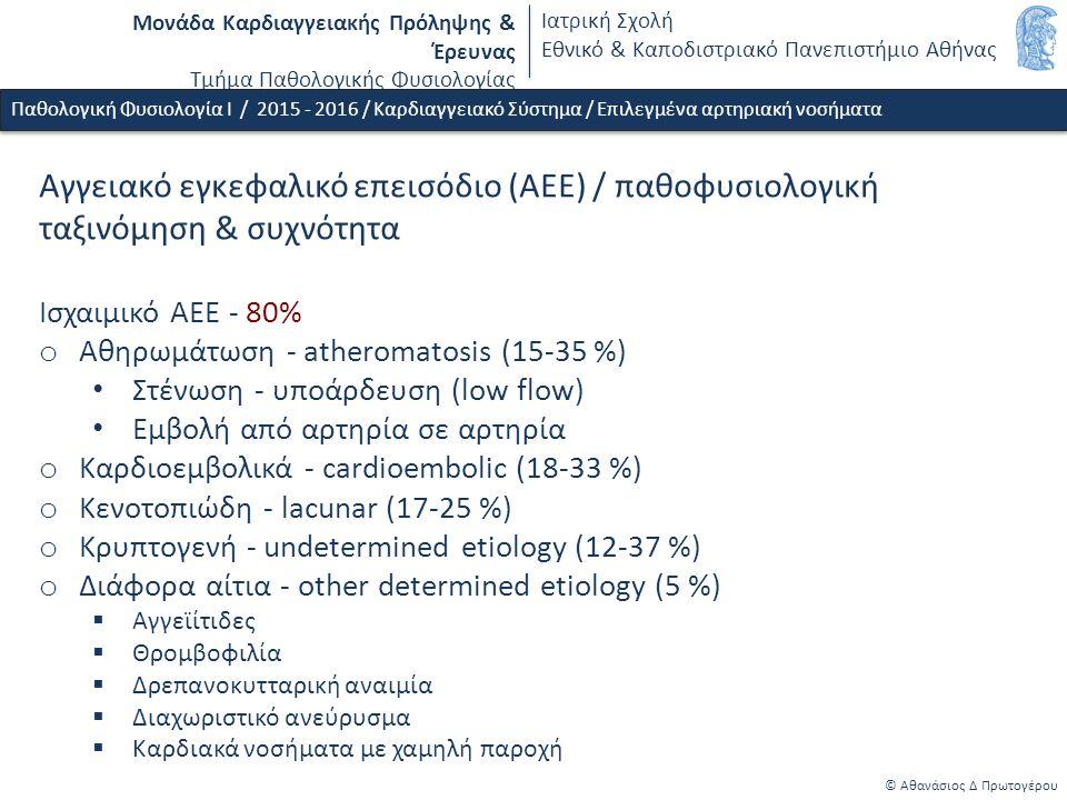 Μονάδα Καρδιαγγειακής Πρόληψης & Έρευνας Τμήμα Παθολογικής Φυσιολογίας Ιατρική Σχολή Εθνικό & Καποδιστριακό Πανεπιστήμιο Αθήνας © Αθανάσιος Δ Πρωτογέρου Παθολογική Φυσιολογία Ι / 2015 - 2016 / Καρδιαγγειακό Σύστημα / Επιλεγμένα αρτηριακή νοσήματα Αγγειακό εγκεφαλικό επεισόδιο (ΑΕΕ) / παθοφυσιολογική ταξινόμηση & συχνότητα Ισχαιμικό ΑΕΕ - 80% o Αθηρωμάτωση - atheromatosis (15-35 %) Στένωση - υποάρδευση (low flow) Εμβολή από αρτηρία σε αρτηρία o Καρδιοεμβολικά - cardioembolic (18-33 %) o Κενοτοπιώδη - lacunar (17-25 %) o Κρυπτογενή - undetermined etiology (12-37 %) o Διάφορα αίτια - other determined etiology (5 %)  Αγγεϊίτιδες  Θρομβοφιλία  Δρεπανοκυτταρική αναιμία  Διαχωριστικό ανεύρυσμα  Καρδιακά νοσήματα με χαμηλή παροχή