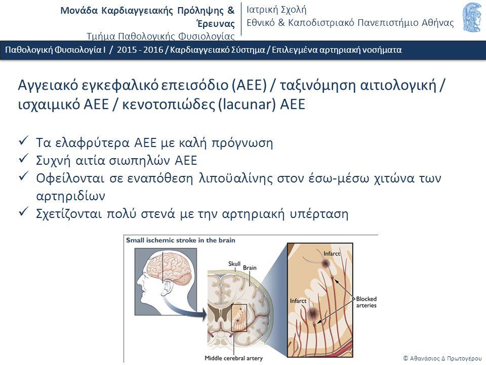 Μονάδα Καρδιαγγειακής Πρόληψης & Έρευνας Τμήμα Παθολογικής Φυσιολογίας Ιατρική Σχολή Εθνικό & Καποδιστριακό Πανεπιστήμιο Αθήνας © Αθανάσιος Δ Πρωτογέρου Παθολογική Φυσιολογία Ι / 2015 - 2016 / Καρδιαγγειακό Σύστημα / Επιλεγμένα αρτηριακή νοσήματα Αγγειακό εγκεφαλικό επεισόδιο (ΑΕΕ) / ταξινόμηση αιτιολογική / ισχαιμικό ΑΕΕ / κενοτοπιώδες (lacunar) ΑΕΕ Τα ελαφρύτερα ΑΕΕ με καλή πρόγνωση Συχνή αιτία σιωπηλών ΑΕΕ Οφείλονται σε εναπόθεση λιποϋαλίνης στον έσω-μέσω χιτώνα των αρτηριδίων Σχετίζονται πολύ στενά με την αρτηριακή υπέρταση