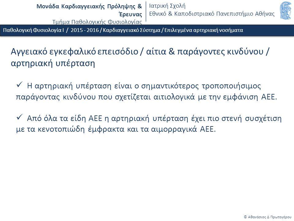 Μονάδα Καρδιαγγειακής Πρόληψης & Έρευνας Τμήμα Παθολογικής Φυσιολογίας Ιατρική Σχολή Εθνικό & Καποδιστριακό Πανεπιστήμιο Αθήνας © Αθανάσιος Δ Πρωτογέρου Παθολογική Φυσιολογία Ι / 2015 - 2016 / Καρδιαγγειακό Σύστημα / Επιλεγμένα αρτηριακή νοσήματα Αγγειακό εγκεφαλικό επεισόδιο / αίτια & παράγοντες κινδύνου / αρτηριακή υπέρταση Η αρτηριακή υπέρταση είναι ο σημαντικότερος τροποποιήσιμος παράγοντας κινδύνου που σχετίζεται αιτιολογικά με την εμφάνιση ΑΕΕ.