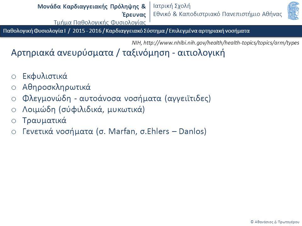 Μονάδα Καρδιαγγειακής Πρόληψης & Έρευνας Τμήμα Παθολογικής Φυσιολογίας Ιατρική Σχολή Εθνικό & Καποδιστριακό Πανεπιστήμιο Αθήνας © Αθανάσιος Δ Πρωτογέρου Παθολογική Φυσιολογία Ι / 2015 - 2016 / Καρδιαγγειακό Σύστημα / Επιλεγμένα αρτηριακή νοσήματα Αρτηριακά ανευρύσματα / ταξινόμηση - αιτιολογική o Εκφυλιστικά o Αθηροσκληρωτικά o Φλεγμονώδη - αυτοάνοσα νοσήματα (αγγειϊτιδες) o Λοιμώδη (σύφιλιδικά, μυκωτικά) o Τραυματικά o Γενετικά νοσήματα (σ.