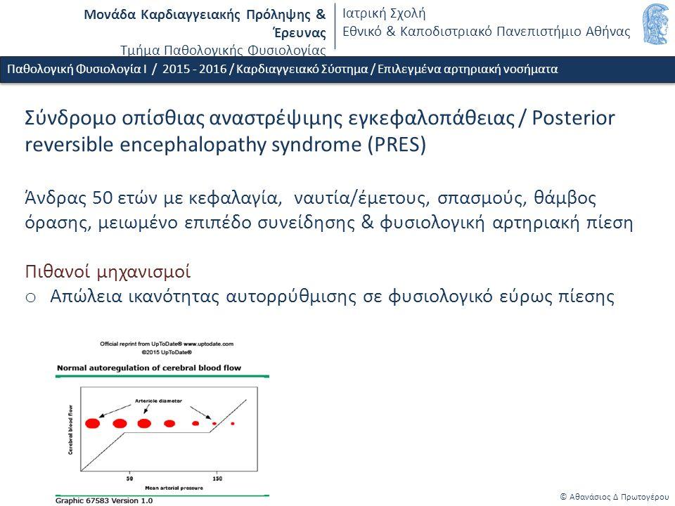 Μονάδα Καρδιαγγειακής Πρόληψης & Έρευνας Τμήμα Παθολογικής Φυσιολογίας Ιατρική Σχολή Εθνικό & Καποδιστριακό Πανεπιστήμιο Αθήνας © Αθανάσιος Δ Πρωτογέρου Παθολογική Φυσιολογία Ι / 2015 - 2016 / Καρδιαγγειακό Σύστημα / Επιλεγμένα αρτηριακή νοσήματα Σύνδρομο οπίσθιας αναστρέψιμης εγκεφαλοπάθειας / Posterior reversible encephalopathy syndrome (PRES) Άνδρας 50 ετών με κεφαλαγία, ναυτία/έμετους, σπασμούς, θάμβος όρασης, μειωμένο επιπέδο συνείδησης & φυσιολογική αρτηριακή πίεση Πιθανοί μηχανισμοί o Απώλεια ικανότητας αυτορρύθμισης σε φυσιολογικό εύρως πίεσης o Ενδοθηλιακή δυσλειτουργία - τριχοεδική βλάβη & οίδημα o Αντιδραστική τοπική αγγειοσύσπαση - τοπική ισχαιμία