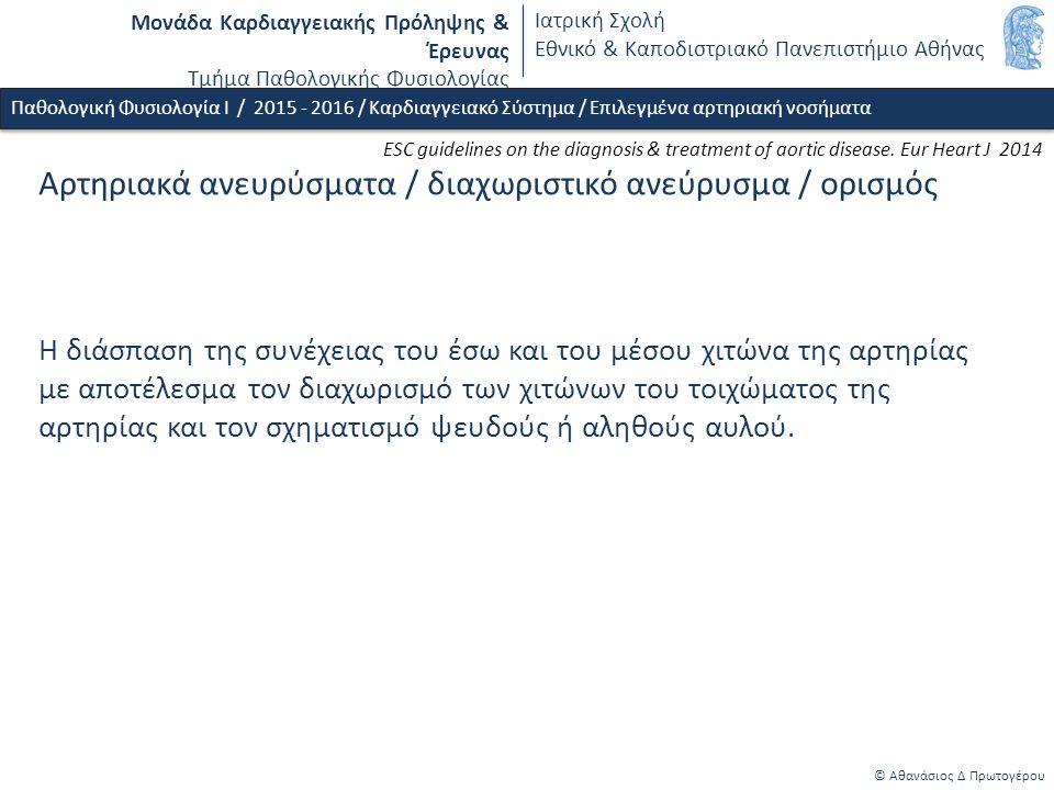 Μονάδα Καρδιαγγειακής Πρόληψης & Έρευνας Τμήμα Παθολογικής Φυσιολογίας Ιατρική Σχολή Εθνικό & Καποδιστριακό Πανεπιστήμιο Αθήνας © Αθανάσιος Δ Πρωτογέρου Αρτηριακά ανευρύσματα / διαχωριστικό ανεύρυσμα / ορισμός Η διάσπαση της συνέχειας του έσω και του μέσου χιτώνα της αρτηρίας με αποτέλεσμα τον διαχωρισμό των χιτώνων του τοιχώματος της αρτηρίας και τον σχηματισμό ψευδούς ή αληθούς αυλού.