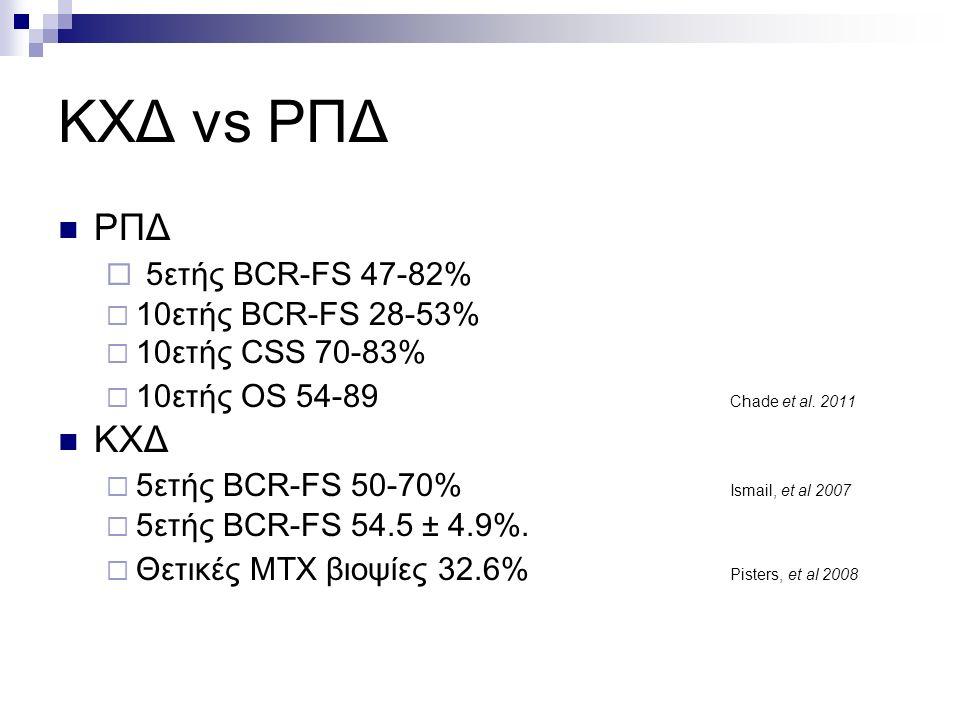 ΚΧΔ vs ΡΠΔ ΡΠΔ  5ετής BCR-FS 47-82%  10ετής BCR-FS 28-53%  10ετής CSS 70-83%  10ετής OS 54-89 Chade et al.