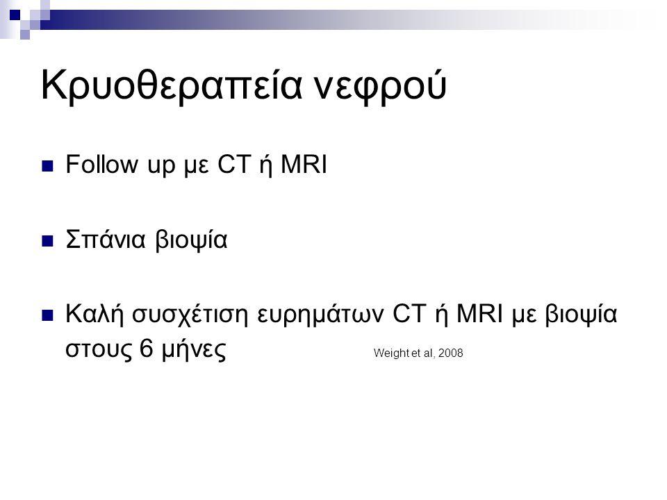 Κρυοθεραπεία νεφρού Follow up με CT ή MRI Σπάνια βιοψία Καλή συσχέτιση ευρημάτων CT ή MRI με βιοψία στους 6 μήνες Weight et al, 2008