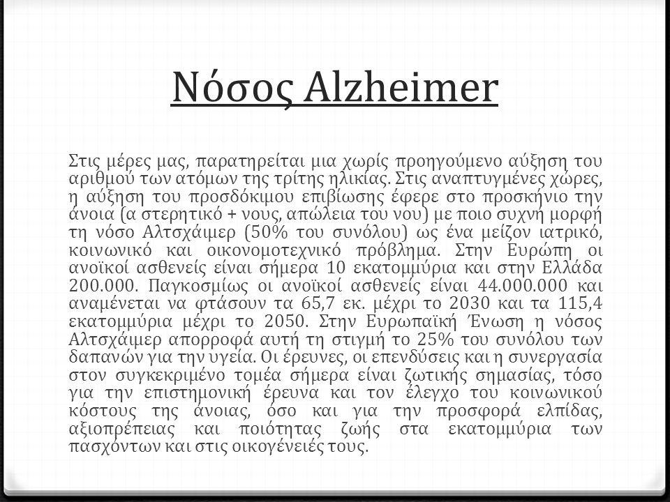 Νόσος Alzheimer Στις μέρες μας, παρατηρείται μια χωρίς προηγούμενο αύξηση του αριθμού των ατόμων της τρίτης ηλικίας.