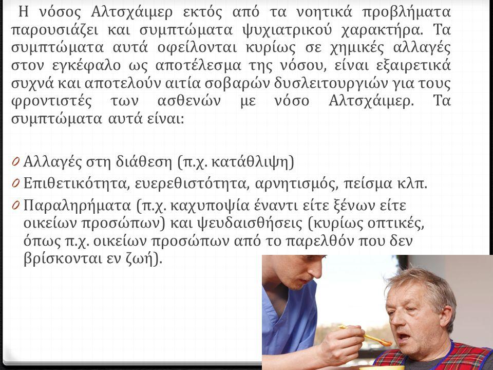 Η νόσος Αλτσχάιμερ εκτός από τα νοητικά προβλήματα παρουσιάζει και συμπτώματα ψυχιατρικού χαρακτήρα.