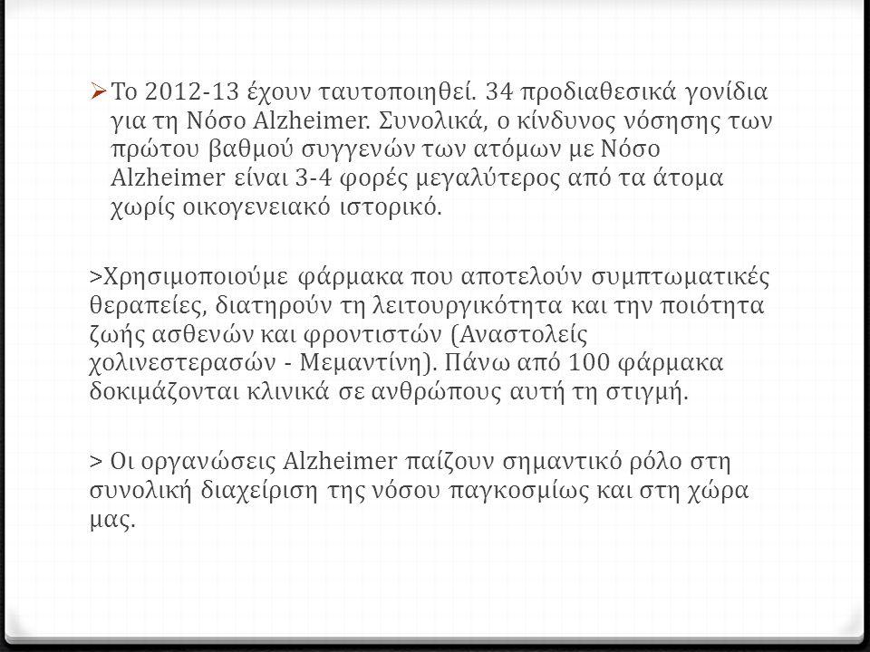  Το 2012-13 έχουν ταυτοποιηθεί. 34 προδιαθεσικά γονίδια για τη Νόσο Alzheimer.
