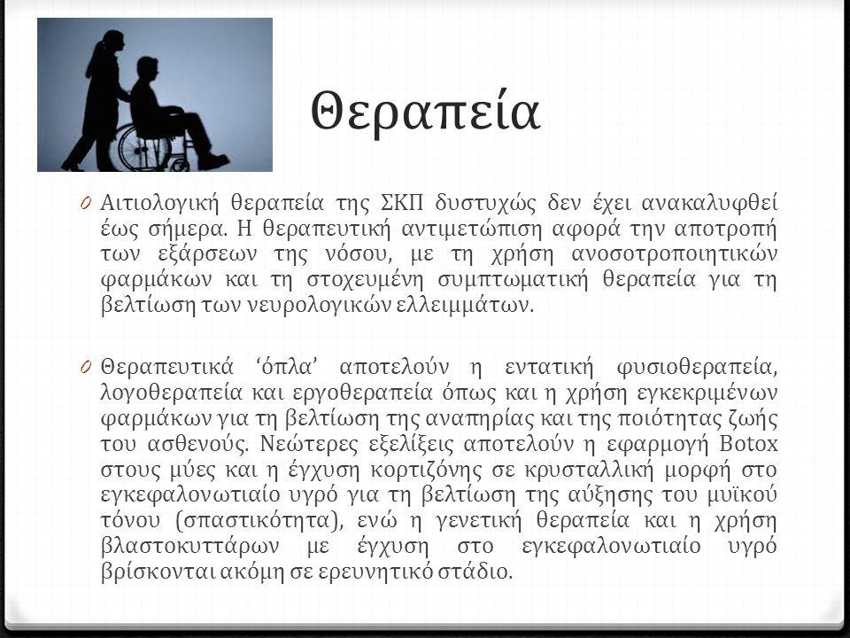 Θεραπεία 0 Αιτιολογική θεραπεία της ΣΚΠ δυστυχώς δεν έχει ανακαλυφθεί έως σήμερα.