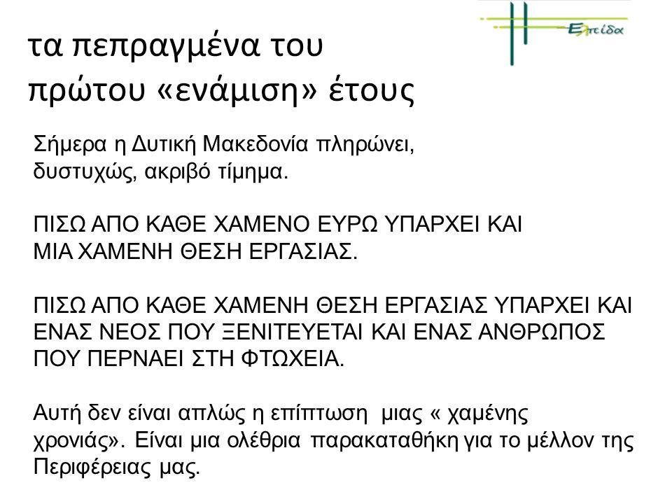 Σήμερα η Δυτική Μακεδονία πληρώνει, δυστυχώς, ακριβό τίμημα. ΠΙΣΩ ΑΠΟ ΚΑΘΕ ΧΑΜΕΝΟ ΕΥΡΩ ΥΠΑΡΧΕΙ ΚΑΙ ΜΙΑ ΧΑΜΕΝΗ ΘΕΣΗ ΕΡΓΑΣΙΑΣ. ΠΙΣΩ ΑΠΟ ΚΑΘΕ ΧΑΜΕΝΗ ΘΕΣΗ