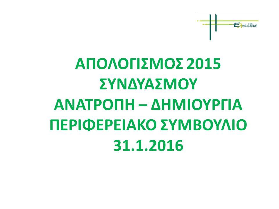 ΑΠΟΛΟΓΙΣΜΟΣ 2015 ΣΥΝΔΥΑΣΜΟΥ ΑΝΑΤΡΟΠΗ – ΔΗΜΙΟΥΡΓΙΑ ΠΕΡΙΦΕΡΕΙΑΚΟ ΣΥΜΒΟΥΛΙΟ 31.1.2016