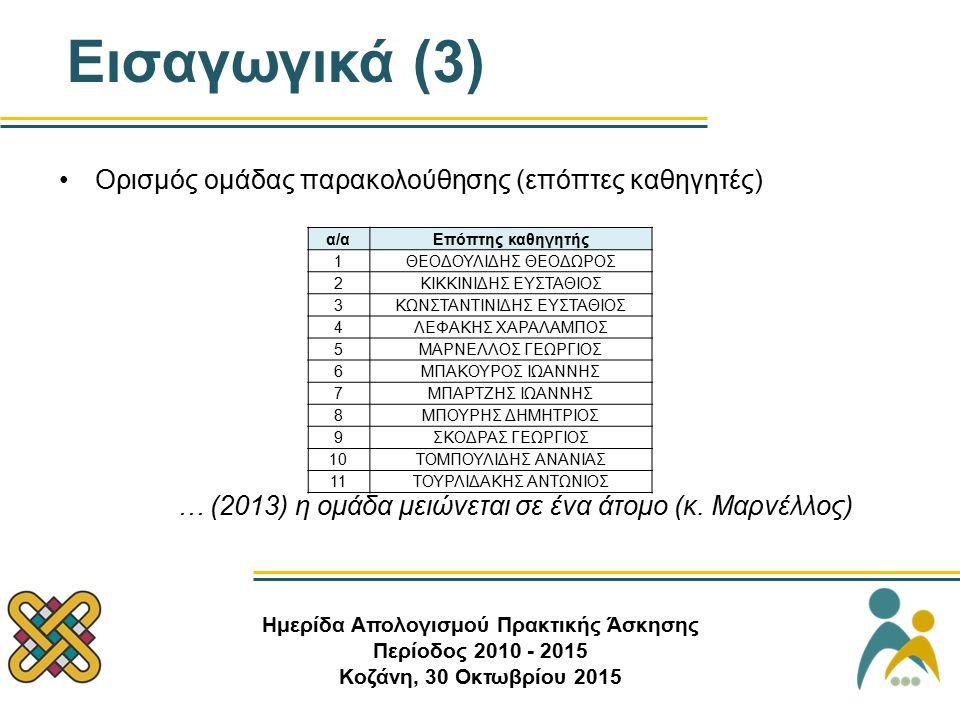 Εισαγωγικά (3) Ορισμός ομάδας παρακολούθησης (επόπτες καθηγητές) … (2013) η ομάδα μειώνεται σε ένα άτομο (κ.