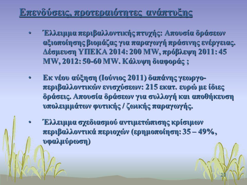 20 Επενδύσεις, προτεραιότητες ανάπτυξης Έλλειμμα περιβαλλοντικής πτυχής: Απουσία δράσεων αξιοποίησης βιομάζας για παραγωγή πράσινης ενέργειας.