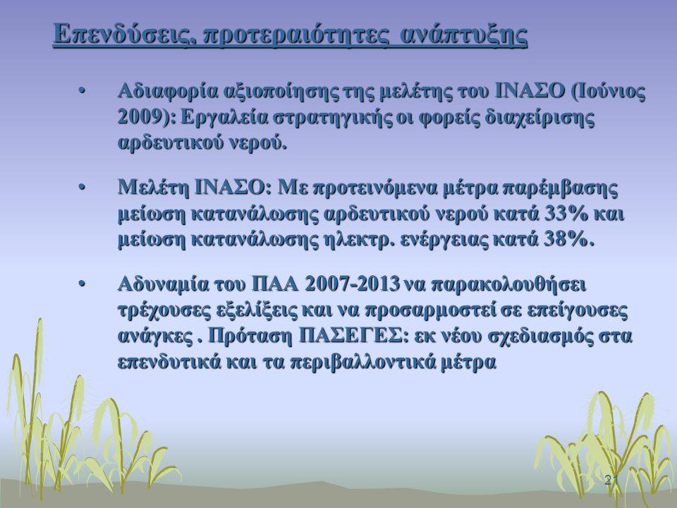 21 Επενδύσεις, προτεραιότητες ανάπτυξης Αδιαφορία αξιοποίησης της μελέτης του ΙΝΑΣΟ (Ιούνιος 2009): Εργαλεία στρατηγικής οι φορείς διαχείρισης αρδευτικού νερού.Αδιαφορία αξιοποίησης της μελέτης του ΙΝΑΣΟ (Ιούνιος 2009): Εργαλεία στρατηγικής οι φορείς διαχείρισης αρδευτικού νερού.