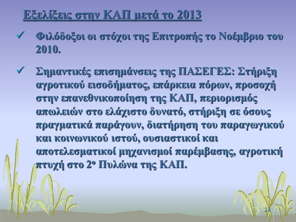 24 Εξελίξεις στην ΚΑΠ μετά το 2013 Φιλόδοξοι οι στόχοι της Επιτροπής το Νοέμβριο του 2010.