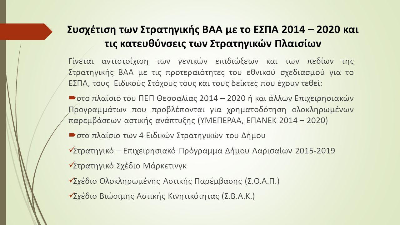 Συσχέτιση των Στρατηγικής ΒΑΑ με το ΕΣΠΑ 2014 – 2020 και τις κατευθύνσεις των Στρατηγικών Πλαισίων Γίνεται αντιστοίχιση των γενικών επιδιώξεων και των πεδίων της Στρατηγικής ΒΑΑ με τις προτεραιότητες του εθνικού σχεδιασμού για το ΕΣΠΑ, τους Ειδικούς Στόχους τους και τους δείκτες που έχουν τεθεί:  στο πλαίσιο του ΠΕΠ Θεσσαλίας 2014 – 2020 ή και άλλων Επιχειρησιακών Προγραμμάτων που προβλέπονται για χρηματοδότηση ολοκληρωμένων παρεμβάσεων αστικής ανάπτυξης (ΥΜΕΠΕΡΑΑ, ΕΠΑΝΕΚ 2014 – 2020)  στο πλαίσιο των 4 Ειδικών Στρατηγικών του Δήμου Στρατηγικό – Επιχειρησιακό Πρόγραμμα Δήμου Λαρισαίων 2015-2019 Στρατηγικό Σχέδιο Μάρκετινγκ Σχέδιο Ολοκληρωμένης Αστικής Παρέμβασης (Σ.Ο.Α.Π.) Σχέδιο Βιώσιμης Αστικής Κινητικότητας (Σ.Β.Α.Κ.)