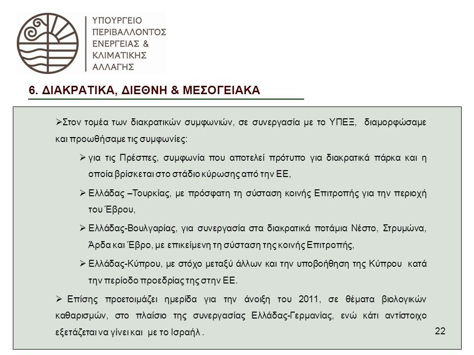 22  Στον τομέα των διακρατικών συμφωνιών, σε συνεργασία με το ΥΠΕΞ, διαμορφώσαμε και προωθήσαμε τις συμφωνίες:  για τις Πρέσπες, συμφωνία που αποτελεί πρότυπο για διακρατικά πάρκα και η οποία βρίσκεται στο στάδιο κύρωσης από την ΕΕ,  Ελλάδας –Τουρκίας, με πρόσφατη τη σύσταση κοινής Επιτροπής για την περιοχή του Έβρου,  Ελλάδας-Βουλγαρίας, για συνεργασία στα διακρατικά ποτάμια Νέστο, Στρυμώνα, Άρδα και Έβρο, με επικείμενη τη σύσταση της κοινής Επιτροπής,  Ελλάδας-Κύπρου, με στόχο μεταξύ άλλων και την υποβοήθηση της Κύπρου κατά την περίοδο προεδρίας της στην ΕΕ.
