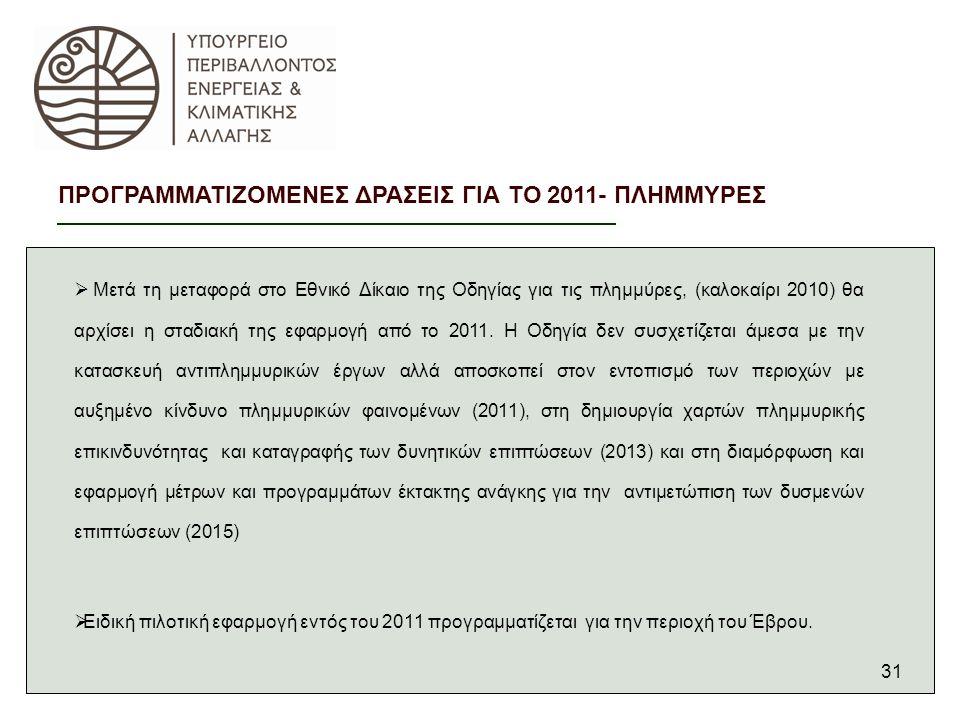 31  Μετά τη μεταφορά στο Εθνικό Δίκαιο της Οδηγίας για τις πλημμύρες, (καλοκαίρι 2010) θα αρχίσει η σταδιακή της εφαρμογή από το 2011.