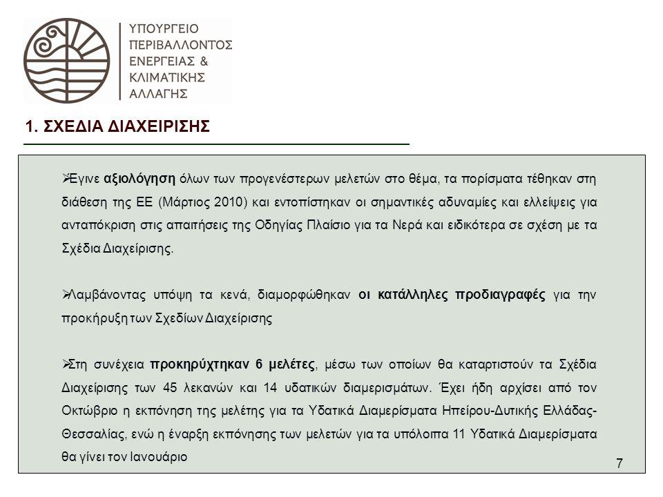7 1. ΣΧΕΔΙΑ ΔΙΑΧΕΙΡΙΣΗΣ  Έγινε αξιολόγηση όλων των προγενέστερων μελετών στο θέμα, τα πορίσματα τέθηκαν στη διάθεση της ΕΕ (Μάρτιος 2010) και εντοπίσ