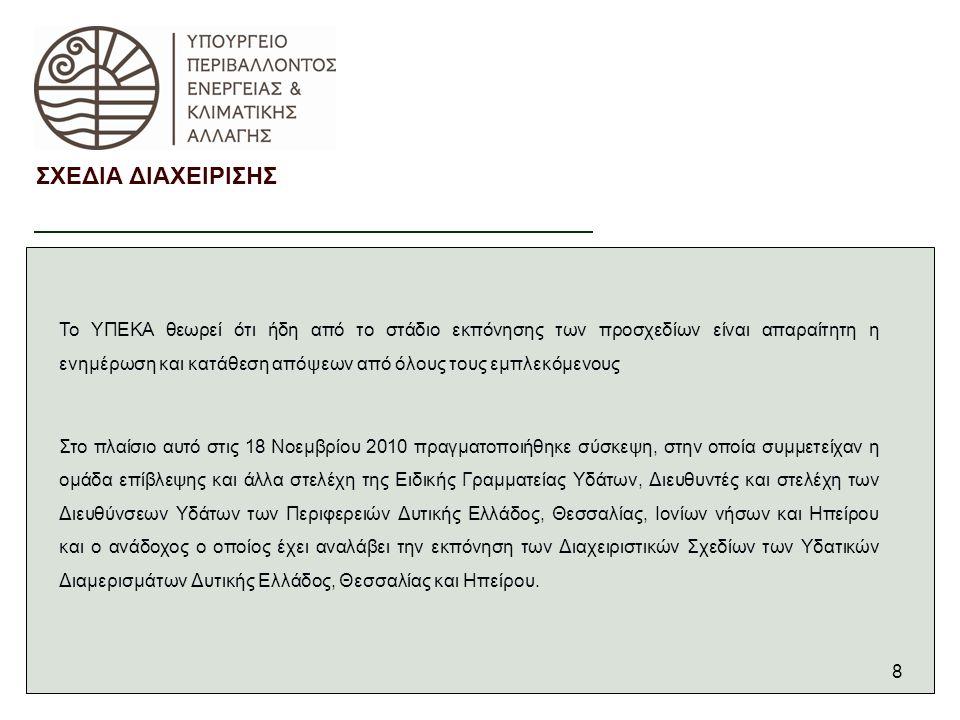 8 ΣΧΕΔΙΑ ΔΙΑΧΕΙΡΙΣΗΣ Το ΥΠΕΚΑ θεωρεί ότι ήδη από το στάδιο εκπόνησης των προσχεδίων είναι απαραίτητη η ενημέρωση και κατάθεση απόψεων από όλους τους εμπλεκόμενους Στο πλαίσιο αυτό στις 18 Νοεμβρίου 2010 πραγματοποιήθηκε σύσκεψη, στην οποία συμμετείχαν η ομάδα επίβλεψης και άλλα στελέχη της Ειδικής Γραμματείας Υδάτων, Διευθυντές και στελέχη των Διευθύνσεων Υδάτων των Περιφερειών Δυτικής Ελλάδος, Θεσσαλίας, Ιονίων νήσων και Ηπείρου και ο ανάδοχος ο οποίος έχει αναλάβει την εκπόνηση των Διαχειριστικών Σχεδίων των Υδατικών Διαμερισμάτων Δυτικής Ελλάδος, Θεσσαλίας και Ηπείρου.