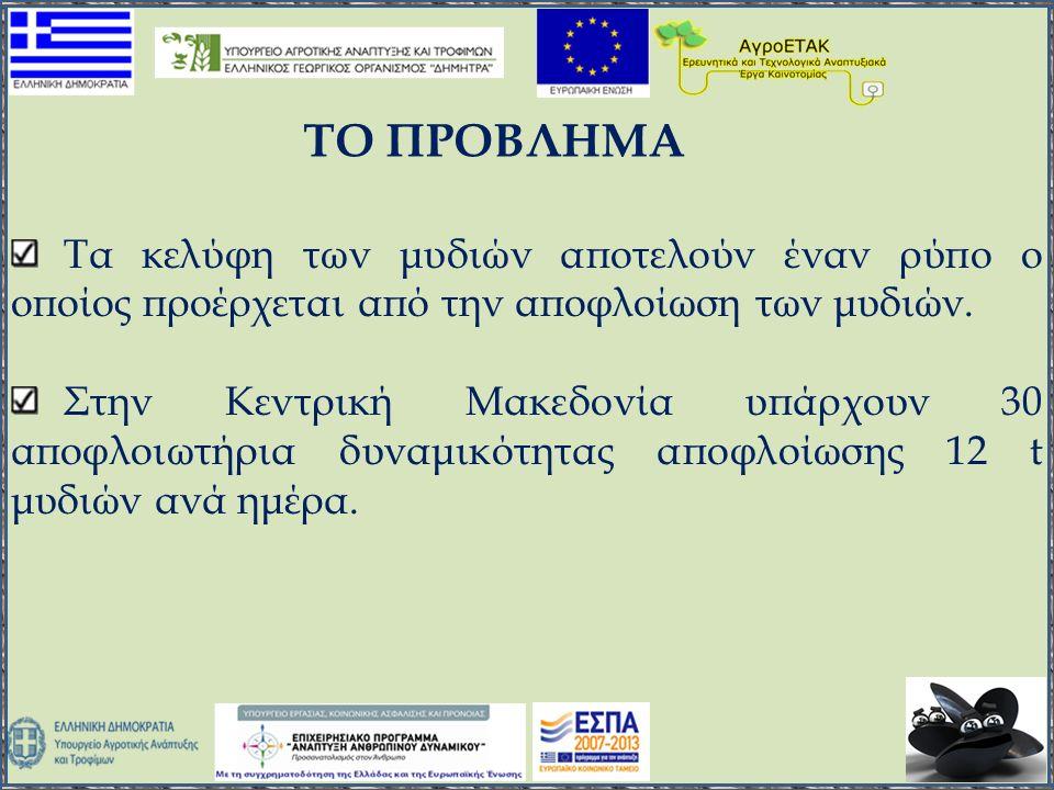 Τα κελύφη των μυδιών αποτελούν έναν ρύπο ο οποίος προέρχεται από την αποφλοίωση των μυδιών. Στην Κεντρική Μακεδονία υπάρχουν 30 αποφλοιωτήρια δυναμικό