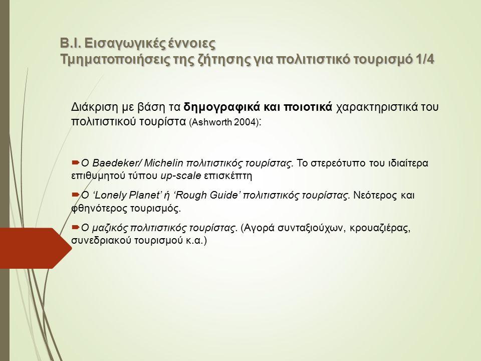 Β.Ι. Εισαγωγικές έννοιες Τμηματοποιήσεις της ζήτησης για πολιτιστικό τουρισμό 1/4 Διάκριση με βάση τα δημογραφικά και ποιοτικά χαρακτηριστικά του πολι