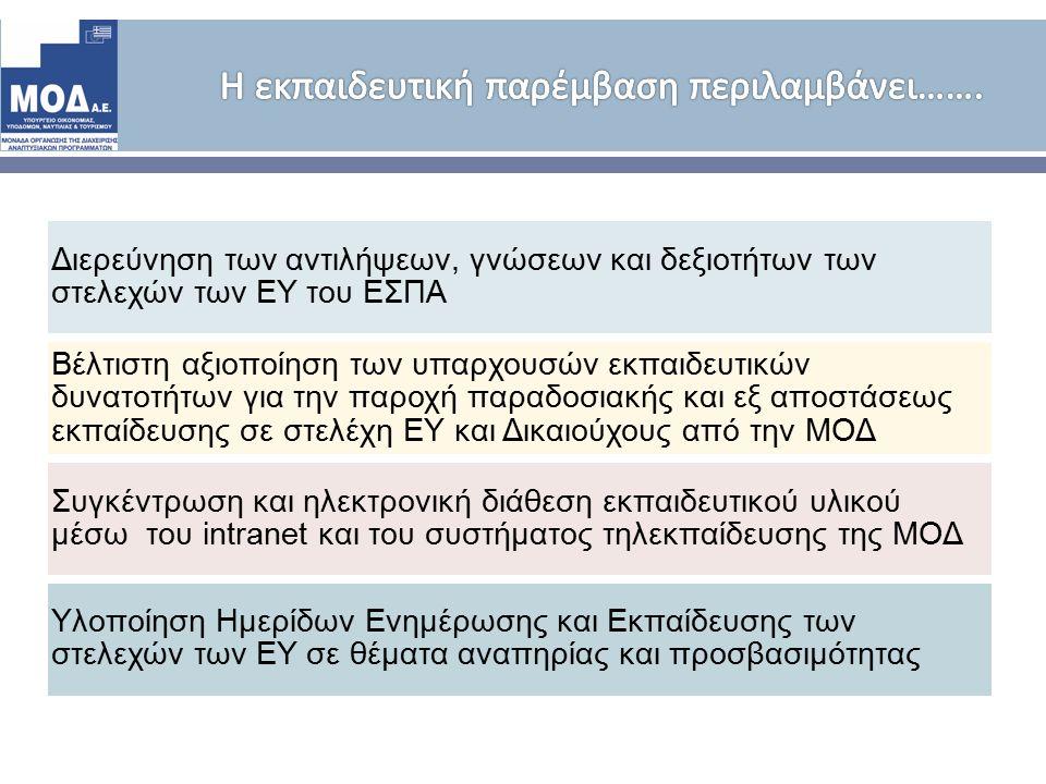 Διερεύνηση των αντιλήψεων, γνώσεων και δεξιοτήτων των στελεχών των ΕΥ του ΕΣΠΑ Βέλτιστη αξιοποίηση των υπαρχουσών εκπαιδευτικών δυνατοτήτων για την παροχή παραδοσιακής και εξ αποστάσεως εκπαίδευσης σε στελέχη ΕΥ και Δικαιούχους από την ΜΟΔ Συγκέντρωση και ηλεκτρονική διάθεση εκπαιδευτικού υλικού μέσω του intranet και του συστήματος τηλεκπαίδευσης της ΜΟΔ Υλοποίηση Ημερίδων Ενημέρωσης και Εκπαίδευσης των στελεχών των ΕΥ σε θέματα αναπηρίας και προσβασιμότητας