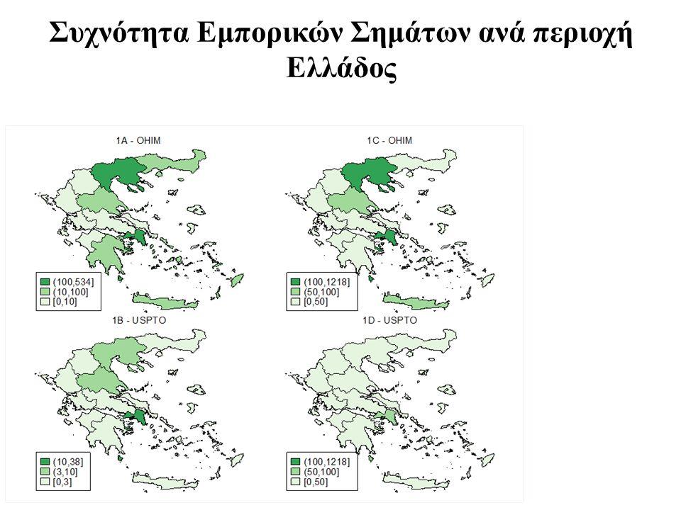 Συχνότητα Εμπορικών Σημάτων ανά περιοχή Ελλάδος