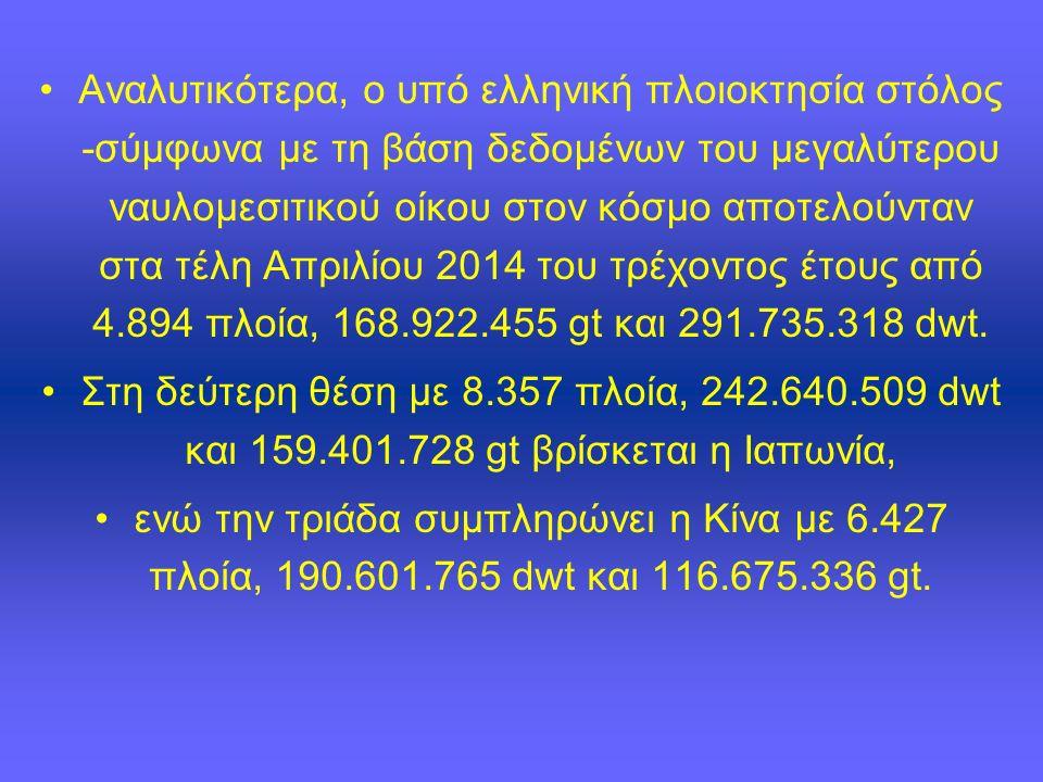 Αναλυτικότερα, ο υπό ελληνική πλοιοκτησία στόλος -σύμφωνα με τη βάση δεδομένων του μεγαλύτερου ναυλομεσιτικού οίκου στον κόσμο αποτελούνταν στα τέλη Απριλίου 2014 του τρέχοντος έτους από 4.894 πλοία, 168.922.455 gt και 291.735.318 dwt.