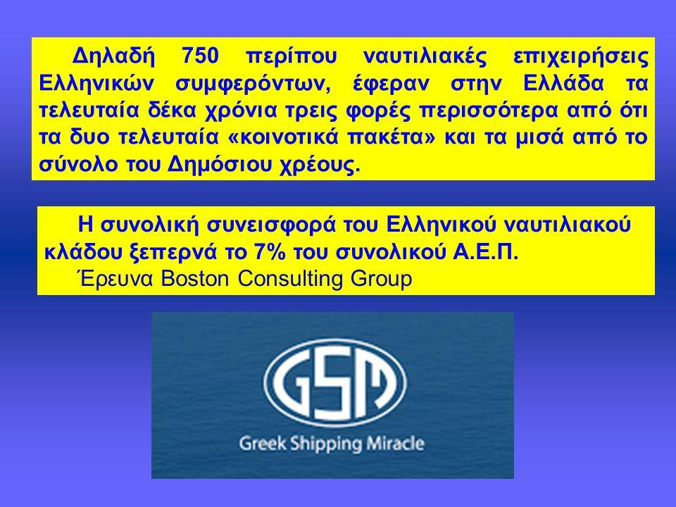 Δηλαδή 750 περίπου ναυτιλιακές επιχειρήσεις Ελληνικών συμφερόντων, έφεραν στην Ελλάδα τα τελευταία δέκα χρόνια τρεις φορές περισσότερα από ότι τα δυο τελευταία «κοινοτικά πακέτα» και τα μισά από το σύνολο του Δημόσιου χρέους.
