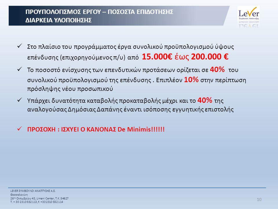 Στο πλαίσιο του προγράμματος έργα συνολικού προϋπολογισμού ύψους επένδυσης (επιχορηγούμενος π/υ) από 15.000€ έως 200.000 € Το ποσοστό ενίσχυσης των επενδυτικών προτάσεων ορίζεται σε 40% του συνολικού προϋπολογισμού της επένδυσης.