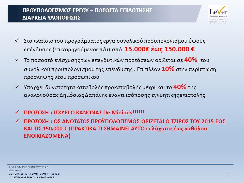 Στο πλαίσιο του προγράμματος έργα συνολικού προϋπολογισμού ύψους επένδυσης (επιχορηγούμενος π/υ) από 15.000€ έως 150.000 € Το ποσοστό ενίσχυσης των επενδυτικών προτάσεων ορίζεται σε 40% του συνολικού προϋπολογισμού της επένδυσης.