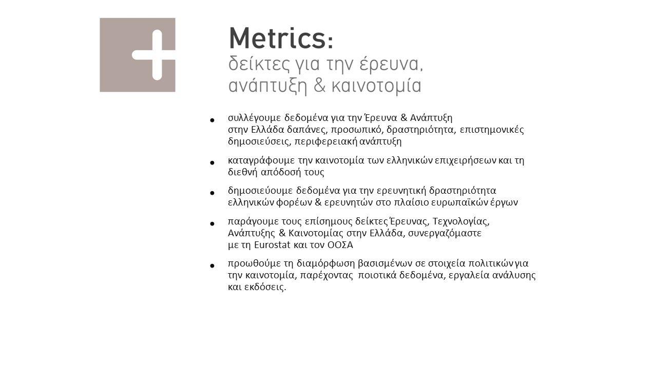 Metrics Καταγραφή επιχειρηματικής δραστηριότητας στους κλάδους ενέργειας - περιβάλλοντος Μετρική αποτύπωση της καινοτομίας στους κλάδους ενέργειας - περιβάλλοντος Μέτρηση αντίκτυπου δράσεων Key Performance Indicators στρατηγικής έξυπνης εξειδίκευσης eInfrastructre Ανοικτά αποθετήρια για την καταγραφή δραστηριοτήτων Ε&Α Ανοικτό περιεχόμενο προς επαναχρησιμοποίηση Ανοικτοί εκπαιδευτικοί πόροι Ηλεκτρονική διακυβέρνηση Ασφαλής διαφύλαξη User generated content Χρηματοδοτικά εργαλεία & εξωστρέφεια Επιλογή χρηματοδοτικών εργαλείων που απαντούν στις ανάγκες της επιχειρηματικής ανακάλυψης Εξειδίκευση συνεργειών εθνικών και ευρωπαϊκών προγραμμάτων Υποστηρικτικές υπηρεσίες – Εθνικό Σημείο Επαφής Διασύνδεση και δικτύωση με την διεθνή επιχειρηματική κοινότητα Στοχευμένη υποστήριξη επιχειρήσεων για εξωστρέφεια