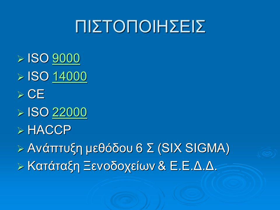 ΠΙΣΤΟΠΟΙΗΣΕΙΣ  ISO 9000 9000  ISO 14000 14000  CE  ISO 22000 22000  HACCP  Ανάπτυξη μεθόδου 6 Σ (SIX SIGMA)  Κατάταξη Ξενοδοχείων & Ε.Ε.Δ.Δ.
