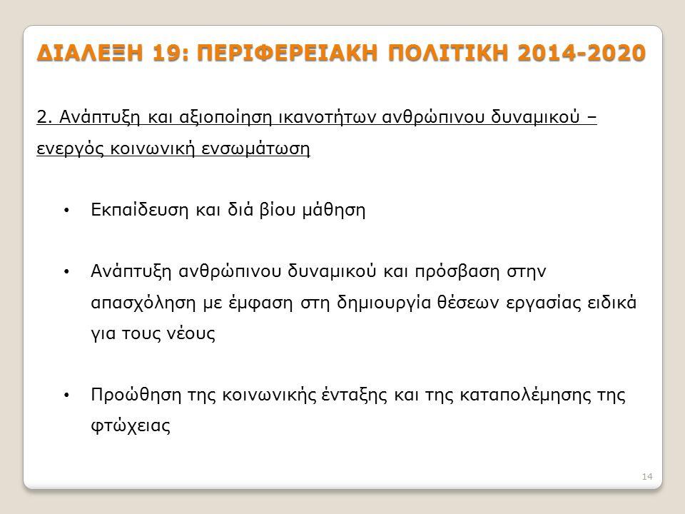 14 ΔΙΑΛΕΞΗ 19: ΠΕΡΙΦΕΡΕΙΑΚΗ ΠΟΛΙΤΙΚΗ 2014-2020 2.