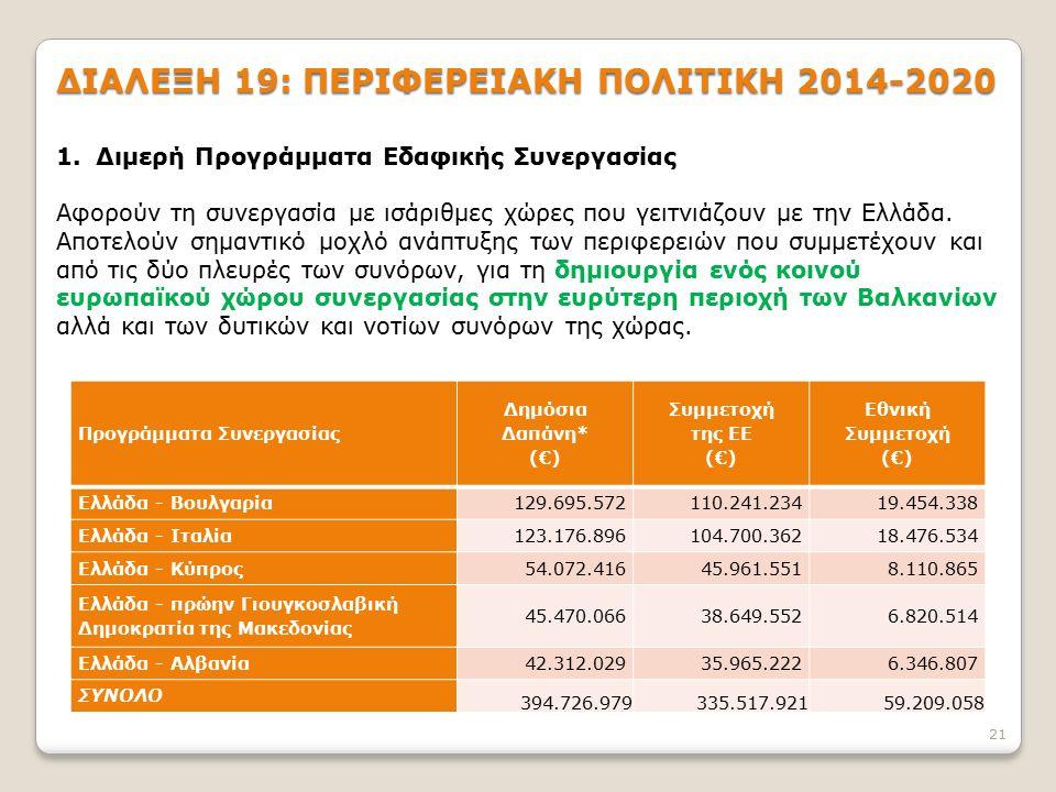 21 ΔΙΑΛΕΞΗ 19: ΠΕΡΙΦΕΡΕΙΑΚΗ ΠΟΛΙΤΙΚΗ 2014-2020 1.Διμερή Προγράμματα Εδαφικής Συνεργασίας Αφορούν τη συνεργασία με ισάριθμες χώρες που γειτνιάζουν με την Ελλάδα.