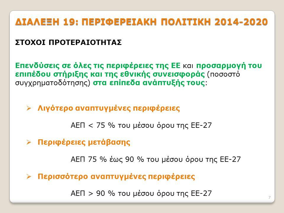 7 ΔΙΑΛΕΞΗ 19: ΠΕΡΙΦΕΡΕΙΑΚΗ ΠΟΛΙΤΙΚΗ 2014-2020 ΣΤΟΧΟΙ ΠΡΟΤΕΡΑΙΟΤΗΤΑΣ Επενδύσεις σε όλες τις περιφέρειες της ΕΕ και προσαρμογή του επιπέδου στήριξης και της εθνικής συνεισφοράς (ποσοστό συγχρηματοδότησης) στα επίπεδα ανάπτυξής τους:  Λιγότερο αναπτυγμένες περιφέρειες ΑΕΠ < 75 % του μέσου όρου της ΕΕ-27  Περιφέρειες μετάβασης ΑΕΠ 75 % έως 90 % του μέσου όρου της ΕΕ-27  Περισσότερο αναπτυγμένες περιφέρειες ΑΕΠ > 90 % του μέσου όρου της ΕΕ-27