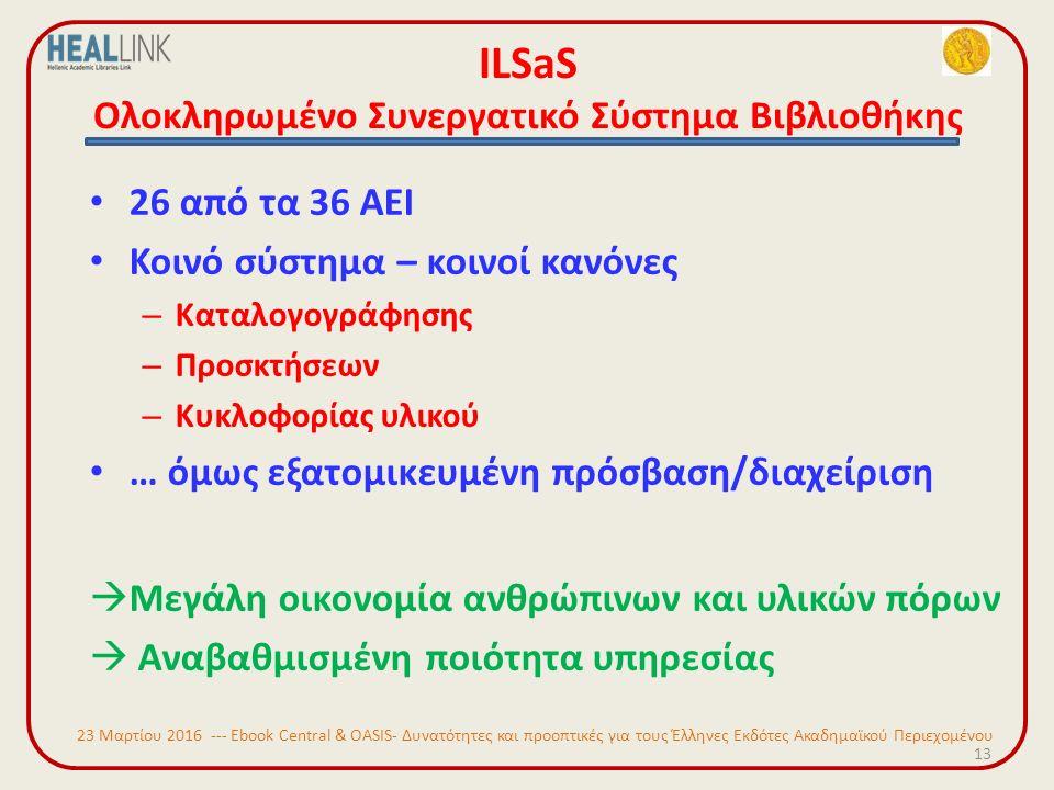 ILSaS Ολοκληρωμένο Συνεργατικό Σύστημα Βιβλιοθήκης 26 από τα 36 ΑΕΙ Κοινό σύστημα – κοινοί κανόνες – Καταλογογράφησης – Προσκτήσεων – Κυκλοφορίας υλικού … όμως εξατομικευμένη πρόσβαση/διαχείριση  Μεγάλη οικονομία ανθρώπινων και υλικών πόρων  Αναβαθμισμένη ποιότητα υπηρεσίας 13 23 Μαρτίου 2016 --- Ebook Central & OASIS- Δυνατότητες και προοπτικές για τους Έλληνες Εκδότες Ακαδημαϊκού Περιεχομένου
