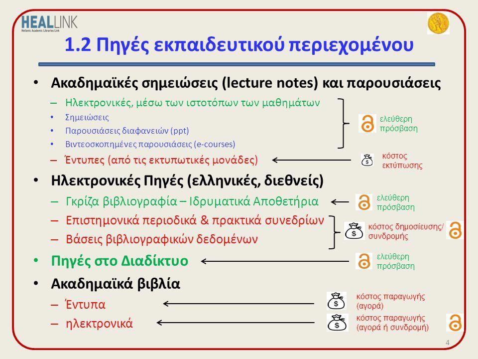 1.2 Πηγές εκπαιδευτικού περιεχομένου Ακαδημαϊκές σημειώσεις (lecture notes) και παρουσιάσεις – Ηλεκτρονικές, μέσω των ιστοτόπων των μαθημάτων Σημειώσεις Παρουσιάσεις διαφανειών (ppt) Βιντεοσκοπημένες παρουσιάσεις (e-courses) – Έντυπες (από τις εκτυπωτικές μονάδες) Ηλεκτρονικές Πηγές (ελληνικές, διεθνείς) – Γκρίζα βιβλιογραφία – Ιδρυματικά Αποθετήρια – Επιστημονικά περιοδικά & πρακτικά συνεδρίων – Βάσεις βιβλιογραφικών δεδομένων Πηγές στο Διαδίκτυο Ακαδημαϊκά βιβλία – Έντυπα – ηλεκτρονικά 4 ελεύθερη πρόσβαση ελεύθερη πρόσβαση κόστος εκτύπωσης κόστος δημοσίευσης/ συνδρομής ελεύθερη πρόσβαση κόστος παραγωγής (αγορά) κόστος παραγωγής (αγορά ή συνδρομή)