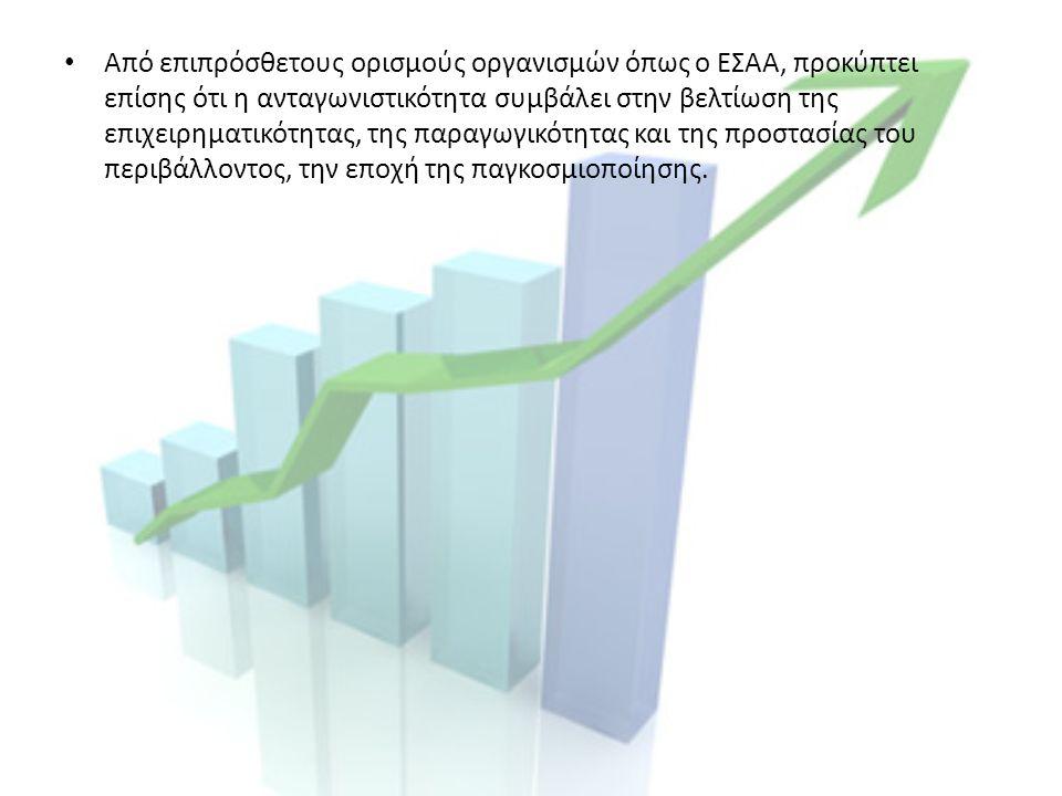 Από επιπρόσθετους ορισμούς οργανισμών όπως ο ΕΣΑΑ, προκύπτει επίσης ότι η ανταγωνιστικότητα συμβάλει στην βελτίωση της επιχειρηματικότητας, της παραγωγικότητας και της προστασίας του περιβάλλοντος, την εποχή της παγκοσμιοποίησης.