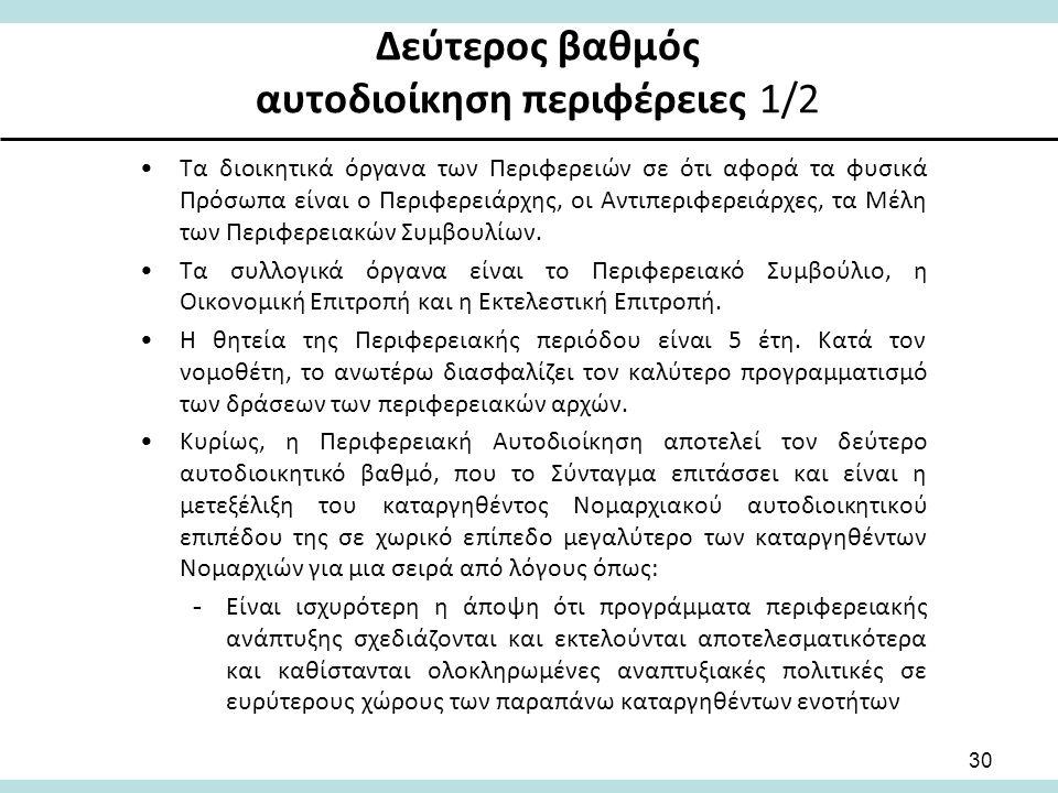 Δεύτερος βαθμός αυτοδιοίκηση περιφέρειες 1/2 Τα διοικητικά όργανα των Περιφερειών σε ότι αφορά τα φυσικά Πρόσωπα είναι ο Περιφερειάρχης, οι Αντιπεριφερειάρχες, τα Μέλη των Περιφερειακών Συμβουλίων.