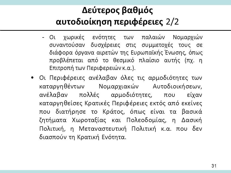 Δεύτερος βαθμός αυτοδιοίκηση περιφέρειες 2/2 -Οι χωρικές ενότητες των παλαιών Νομαρχιών συναντούσαν δυσχέρειες στις συμμετοχές τους σε διάφορα όργανα αιρετών της Ευρωπαϊκής Ένωσης, όπως προβλέπεται από το θεσμικό πλαίσιο αυτής (πχ.