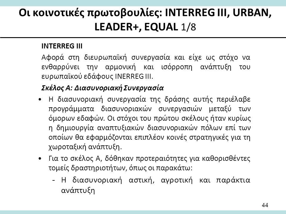 Οι κοινοτικές πρωτοβουλίες: INTERREG III, URBAN, LEADER+, EQUAL 1/8 INTERREG III Αφορά στη διευρωπαϊκή συνεργασία και είχε ως στόχο να ενθαρρύνει την αρμονική και ισόρροπη ανάπτυξη του ευρωπαϊκού εδάφους INERREG III.
