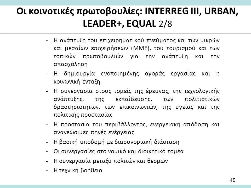 Οι κοινοτικές πρωτοβουλίες: INTERREG III, URBAN, LEADER+, EQUAL 2/8 -Η ανάπτυξη του επιχειρηματικού πνεύματος και των μικρών και μεσαίων επιχειρήσεων (ΜΜΕ), του τουρισμού και των τοπικών πρωτοβουλιών για την ανάπτυξη και την απασχόληση -Η δημιουργία ενοποιημένης αγοράς εργασίας και η κοινωνική ένταξη.