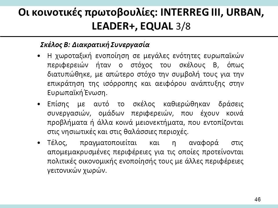 Οι κοινοτικές πρωτοβουλίες: INTERREG III, URBAN, LEADER+, EQUAL 3/8 Σκέλος Β: Διακρατική Συνεργασία Η χωροταξική ενοποίηση σε μεγάλες ενότητες ευρωπαϊκών περιφερειών ήταν ο στόχος του σκέλους Β, όπως διατυπώθηκε, με απώτερο στόχο την συμβολή τους για την επικράτηση της ισόρροπης και αειφόρου ανάπτυξης στην Ευρωπαϊκή Ένωση.