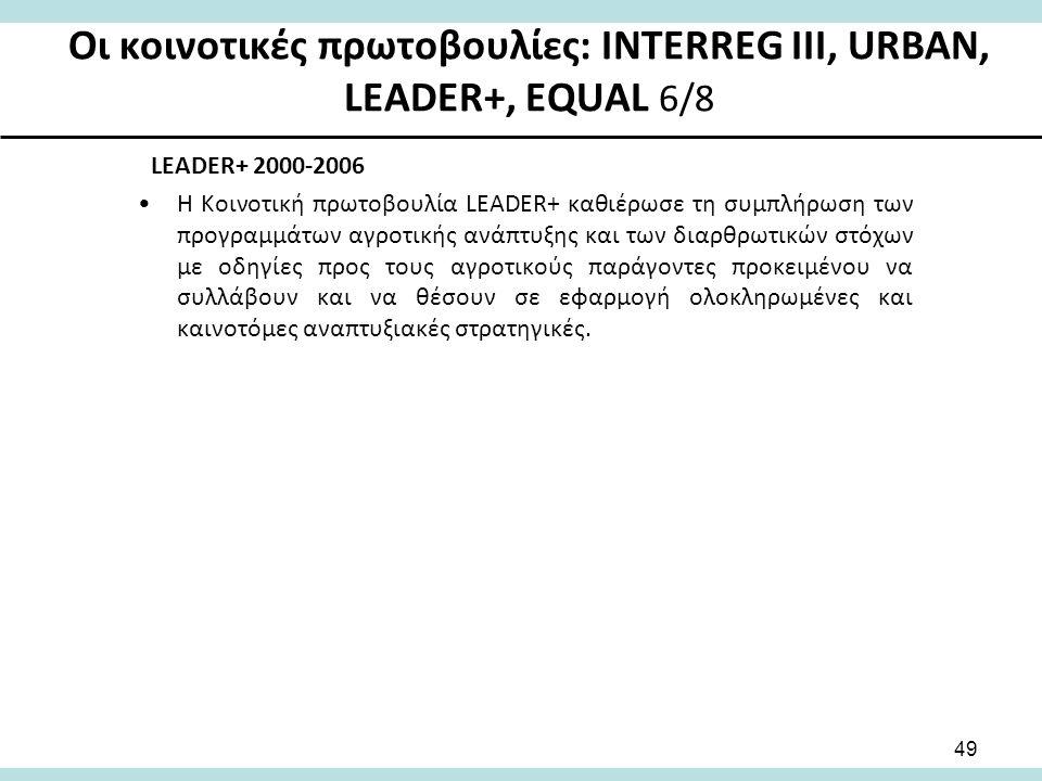 Οι κοινοτικές πρωτοβουλίες: INTERREG III, URBAN, LEADER+, EQUAL 6/8 LEADER+ 2000-2006 Η Κοινοτική πρωτοβουλία LEADER+ καθιέρωσε τη συμπλήρωση των προγραμμάτων αγροτικής ανάπτυξης και των διαρθρωτικών στόχων με οδηγίες προς τους αγροτικούς παράγοντες προκειμένου να συλλάβουν και να θέσουν σε εφαρμογή ολοκληρωμένες και καινοτόμες αναπτυξιακές στρατηγικές.